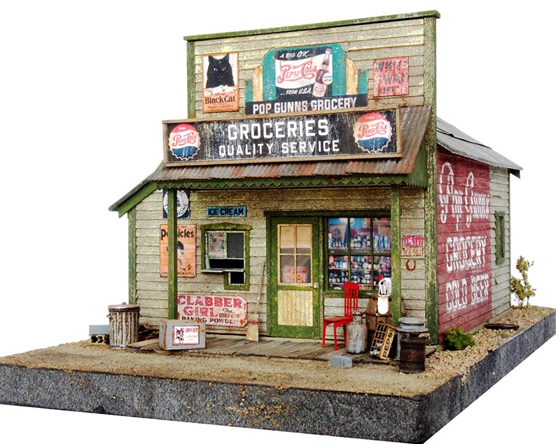 FOS Scale Models Pop Gunns Grocery Kit in O Scale