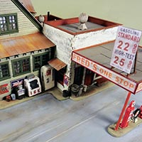 Fred's One Stop Gas Station in HO Scale